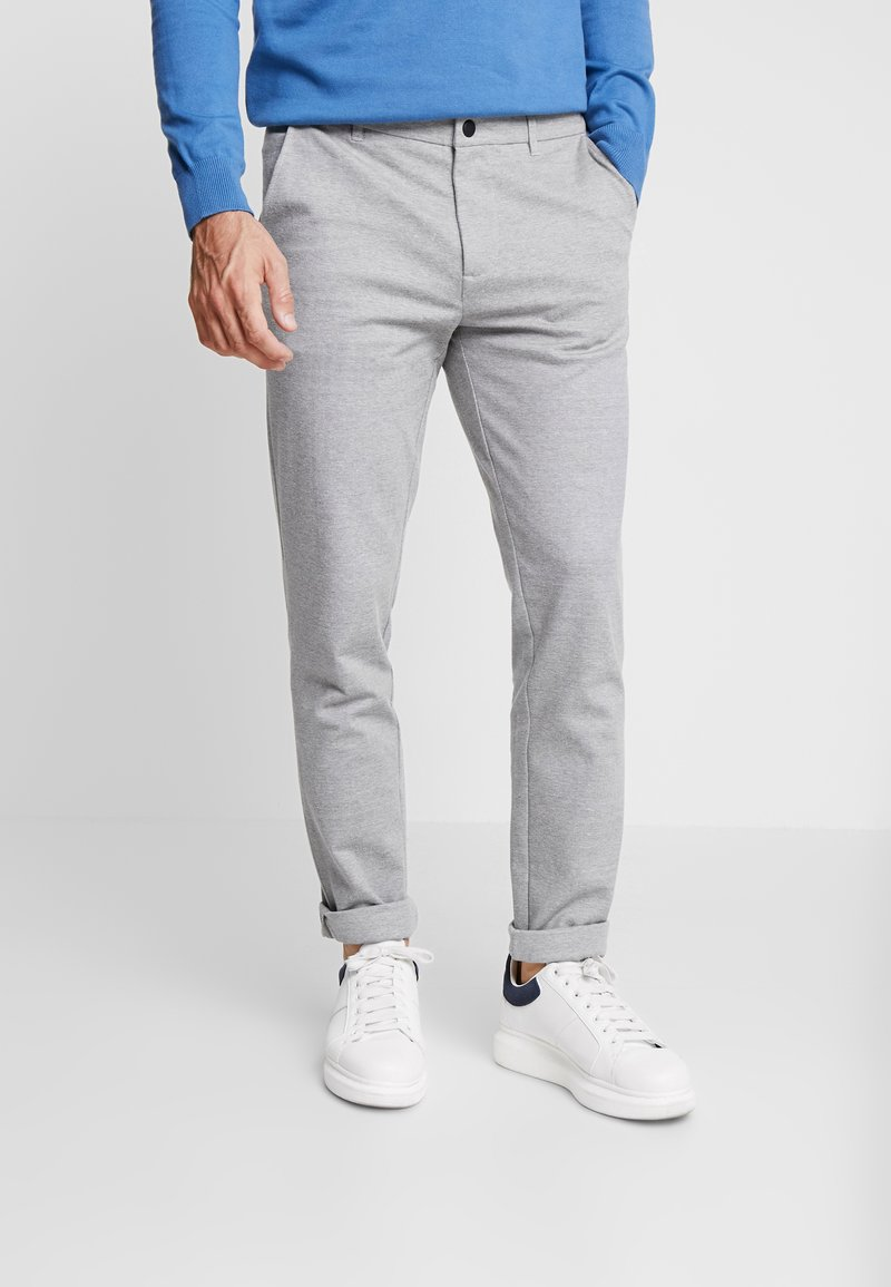 TOM TAILOR DENIM - SLIM STRUCTURE - Trousers - grey melange