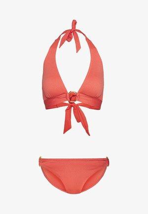 TRIM DETAIL BRIEF SET - Bikini - coral