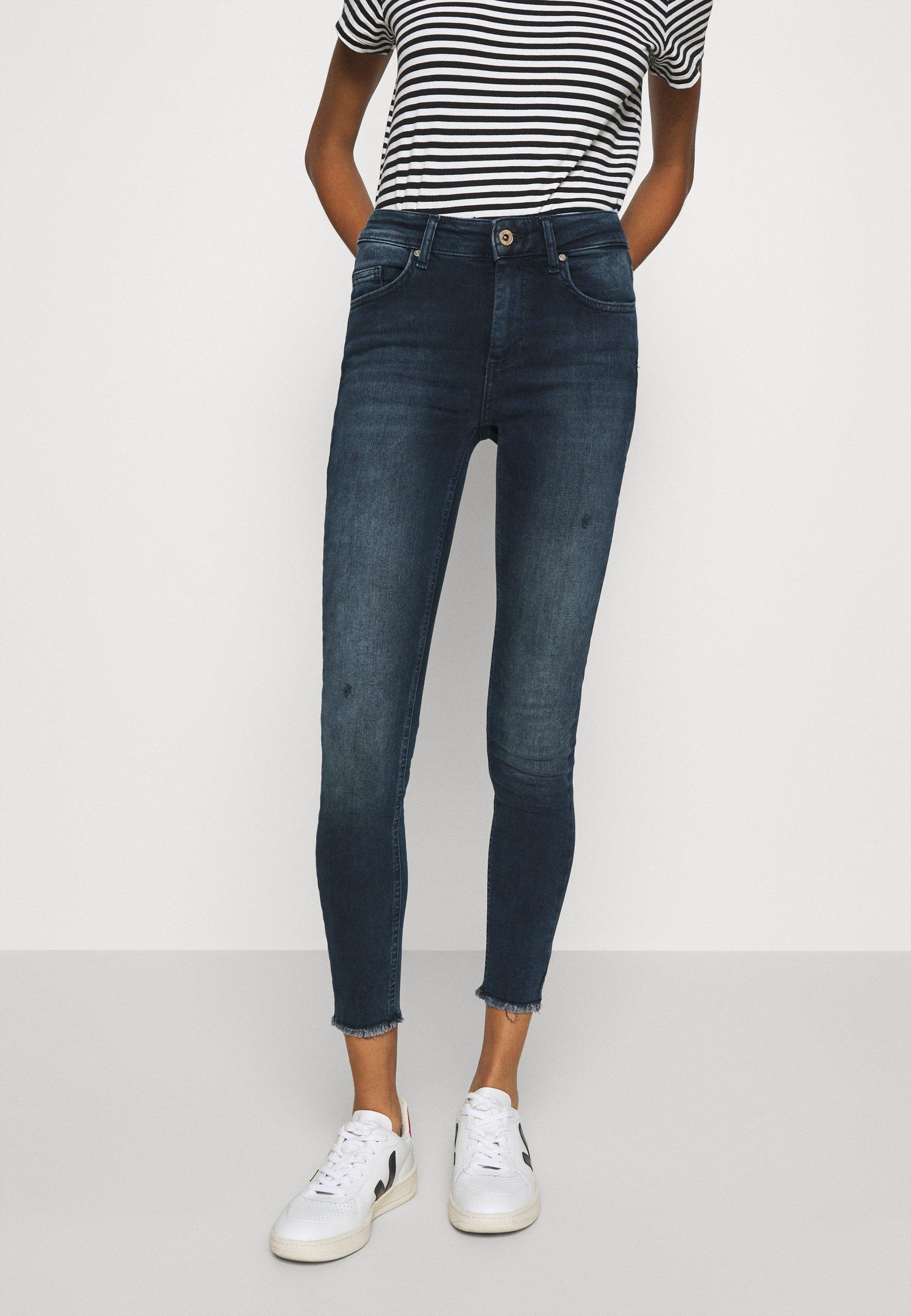 Damen ONLBLUSH LIFE MID RAW  - Jeans Skinny Fit - blue / black