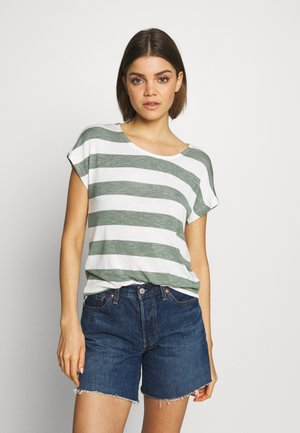 VMWIDE STRIPE TOP  - Print T-shirt - laurel wreath/snow white