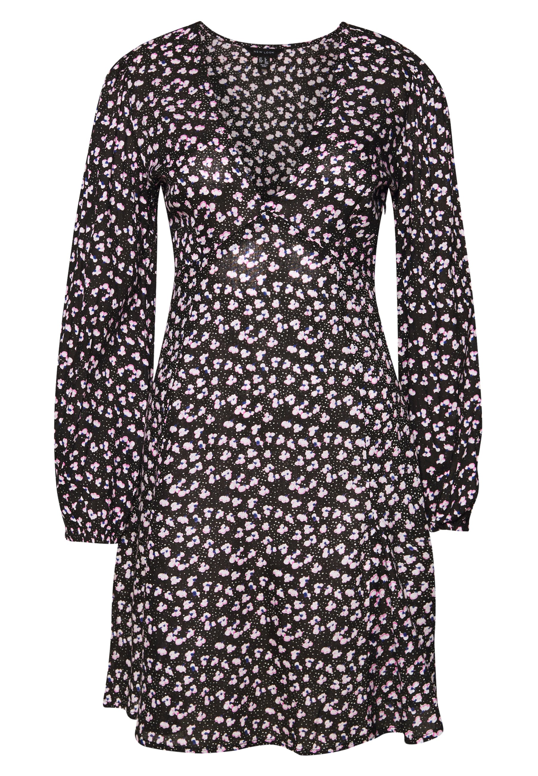 New Look Tall Black Floral High Neck Soft Touch Ruffle Dress