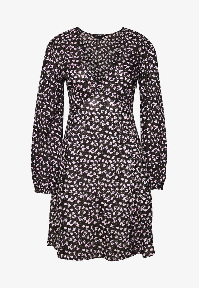 SPOT DITSY SEAM DETAIL MINI - Day dress - black