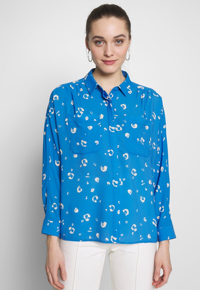 Whistles - WATERCOLOUR ANIMAL BLOUSE - Camisa - blue/multi
