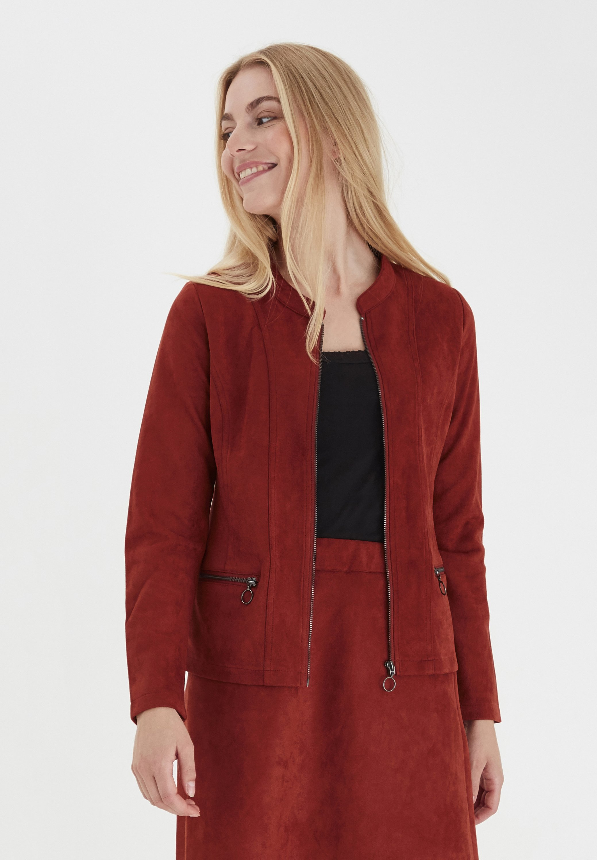 Wholesale Quality Women's Clothing Fransa FRLASUEDE Faux leather jacket burnt henna cSvkptIDq
