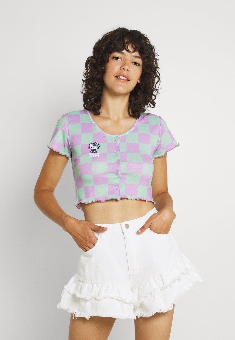 NEW girl ORDER - CHECK CARDIGAN - Cardigan - green/lilac