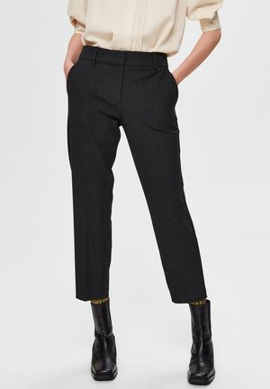 CROPPED MID WAIST - Pants - black