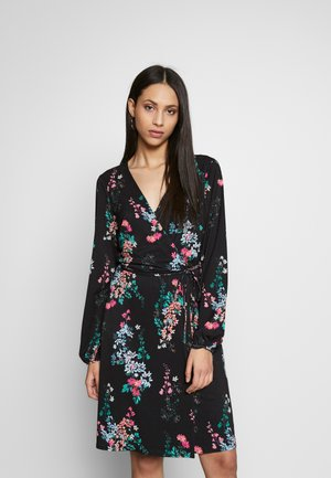 ORIENTAL PRINT FIT AND FLARE DRESS - Jerseykjole - black