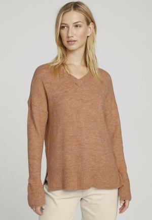 COZY V NECK - Pullover - clay rose melange