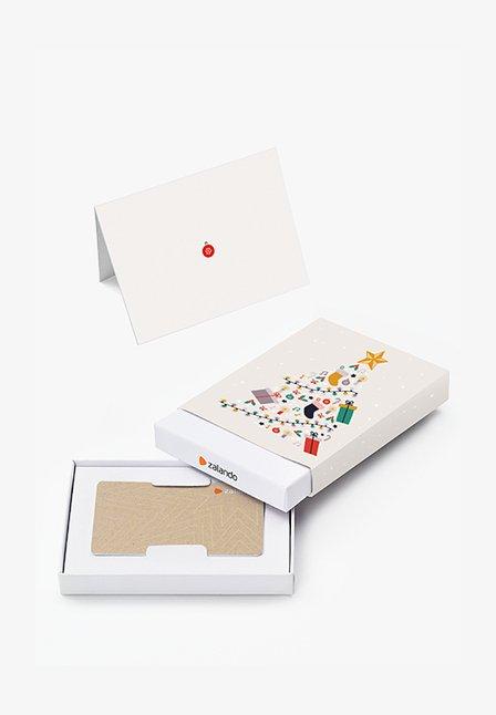 XMAS - Tarjeta regalo en una caja - beige