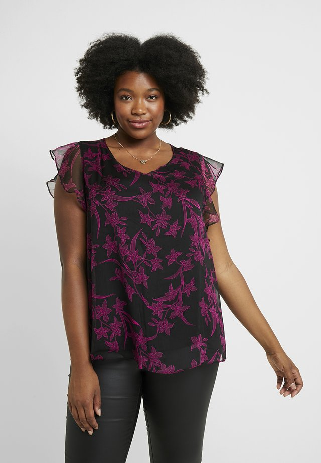 FLUTTER IRIS SILHOUETTES OVERLAY - Blouse - rich black