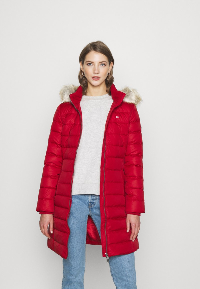 Tommy Jeans - ESSENTIAL HOODED COAT - Down coat - wine red