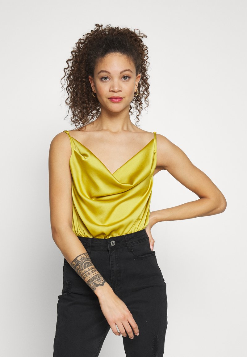 Missguided Petite - COWL NECK BODYSUIT - Topper - yellow