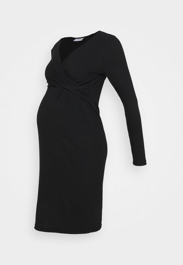 NURSING DRESS - Žerzejové šaty - black