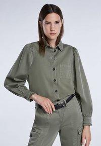 SET - Button-down blouse - khaki - 3