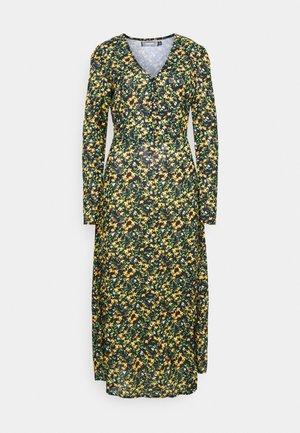 HALF BUTTON MIDI DRESS FLORAL - Shirt dress - yellow