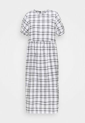 PUFF SMOCK DRESS CHECK - Kjole - white