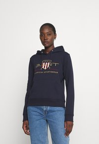GANT - ARCHIVE SHIELD HOODIE - Jersey con capucha - evening blue - 0