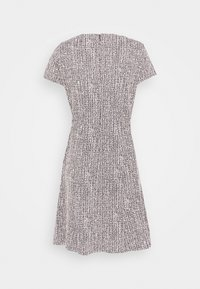 DKNY - TEXTURED FITFLARE - Day dress - black/pink/ivory - 1