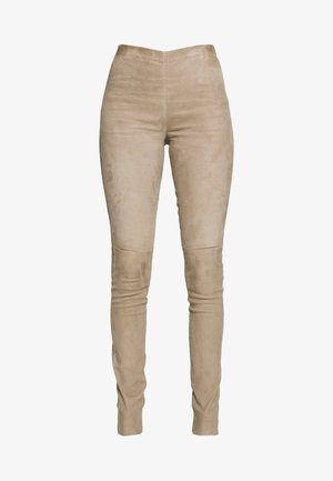 ASTEROID - Leather trousers - beige