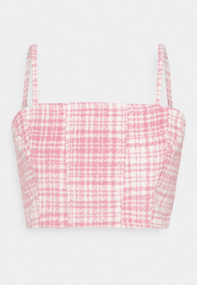 BRUSHED CHECK CROP TOP - Bluse - pink
