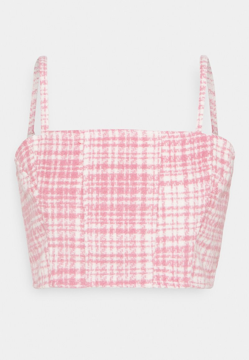 Missguided - BRUSHED CHECK CROP TOP - Blůza - pink