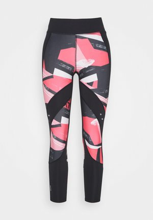 ONPMINALIS 7/8 TIGHTS - Leggings - Trousers - black/strawberry pink
