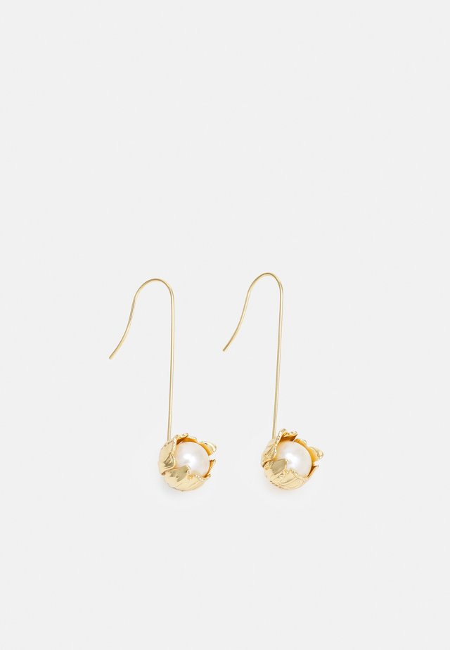 TEXTURED FLOWER WIRE EARRING - Pendientes - gold-coloured