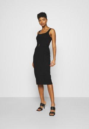 OPEN NECK DRESS - Shift dress - black