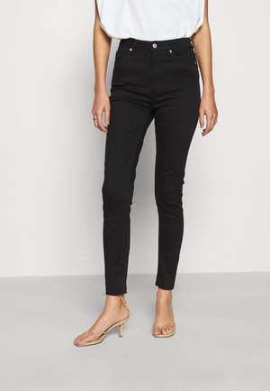 SKINNY HIGH WAIST OPEN HEM - Jeans Skinny Fit - black