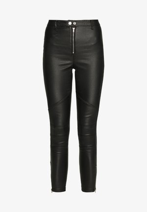 VICE DOUBLE POPPER COATED BIKER - Skinny džíny - black