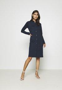 Marc O'Polo - DRESS LONG SLEEVE COLLAR BUTTON PLACKET - Jersey dress - midnight blue - 1