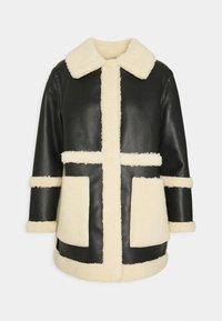Topshop Petite - BONDED BORG REVERSIBLE SHACKET - Winter coat - black/cream - 6
