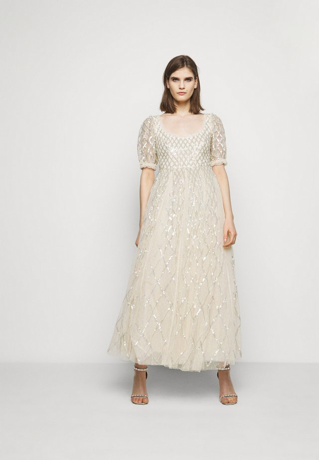 SEQUIN GINGHAM ANKLE GOWN - Robe de cocktail - champagne/blue
