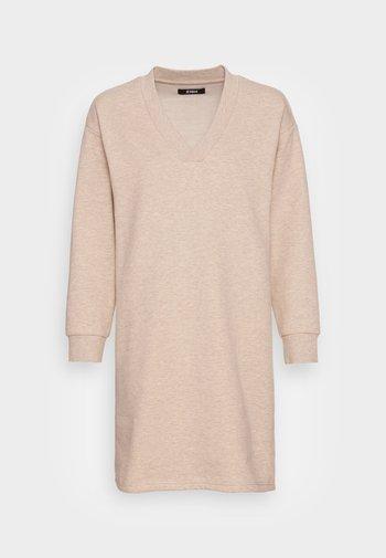 SWEAT V Neck mini dress - Day dress - camel