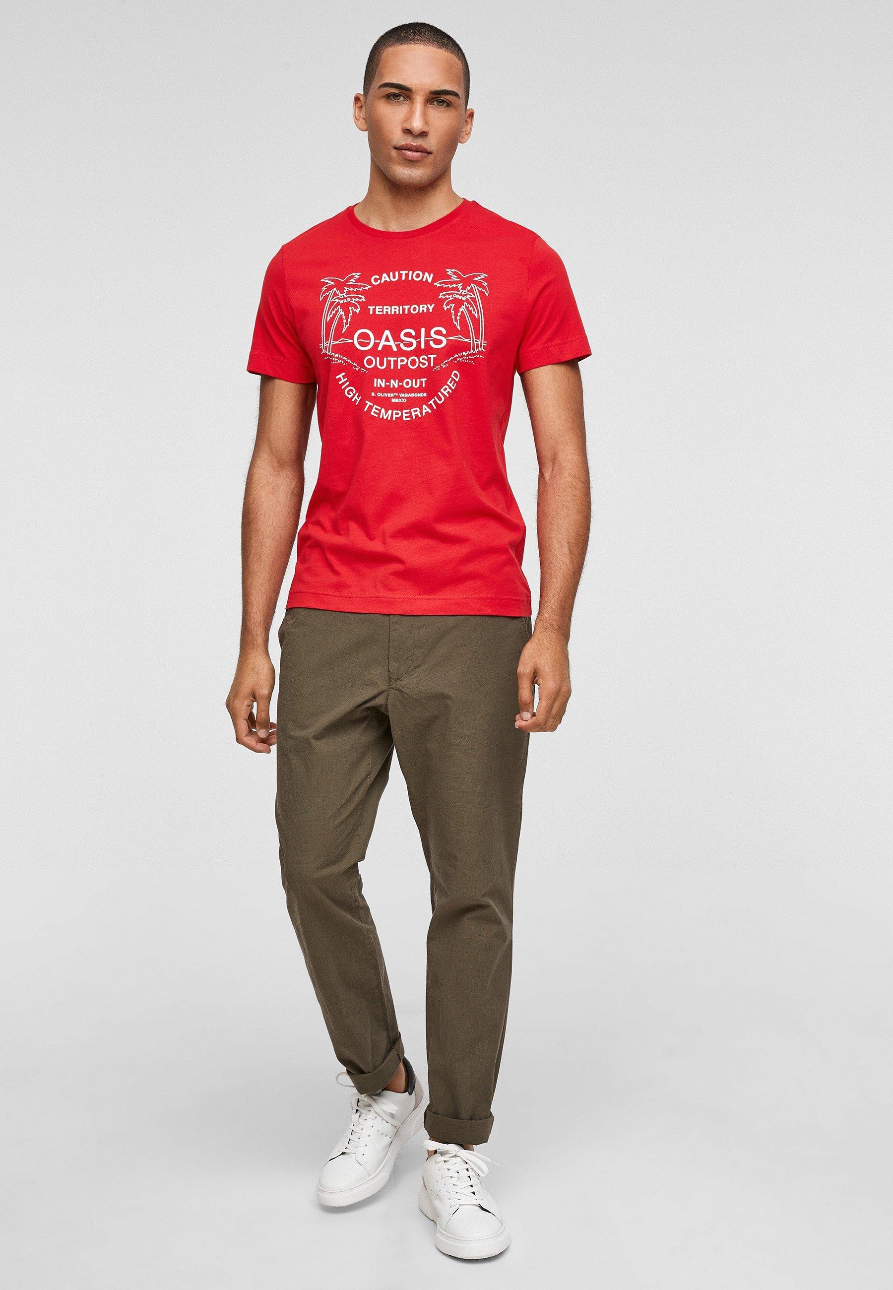 Herren MIT SCHRIFTPRINT - T-Shirt print - red