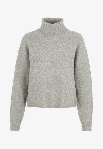 Strikkegenser - medium grey melange