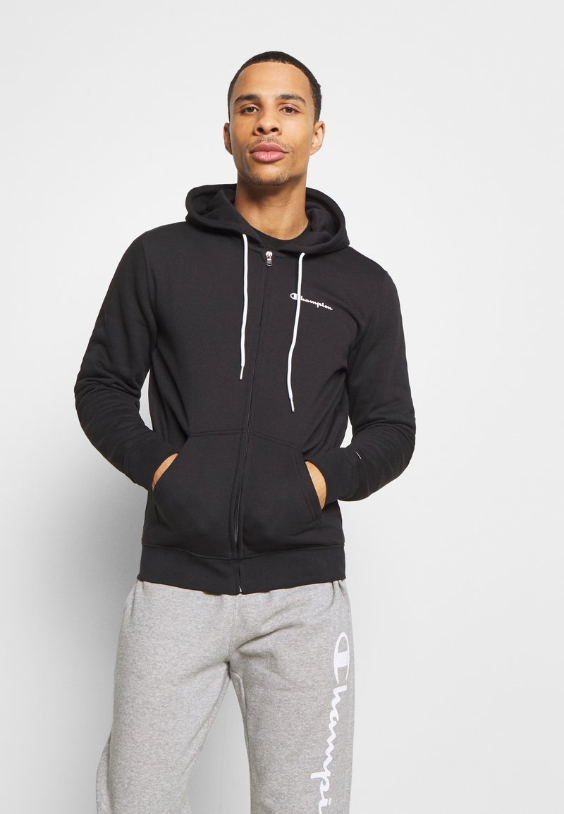Champion - LEGACY HOODED FULL ZIP - veste en sweat zippée - black