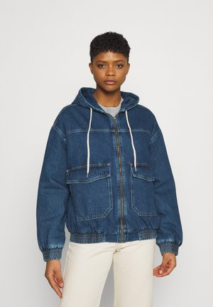HOODED SKATE JACKET - Denim jacket - dark vintage