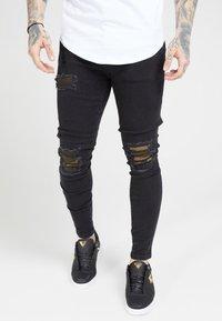 SIKSILK - BURST KNEE LOW RISE - Jeans Skinny Fit - washed black - 4