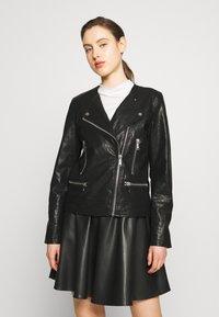 DKNY - MOTO JACKET - Faux leather jacket - black - 0
