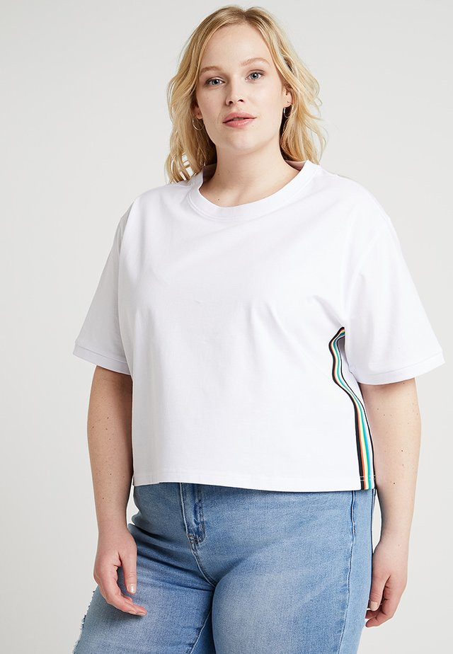 LADIES SIDE TAPED TEE - T-shirt con stampa - white