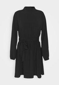 VIGORA TIE BELT HIGHNECK DRESS - Denní šaty - black