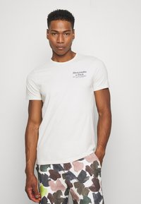 Abercrombie & Fitch - GRAPHIC CREW 3 PACK - Print T-shirt - white/tan/blue - 1