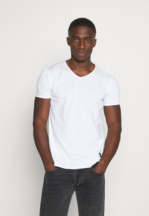 RAW NECK SLUB TEE - Basic T-shirt - white