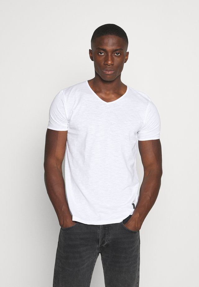 RAW NECK SLUB TEE - T-shirts basic - white