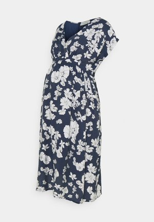 PRINTED WRAP DRESS - Vestido informal - navy