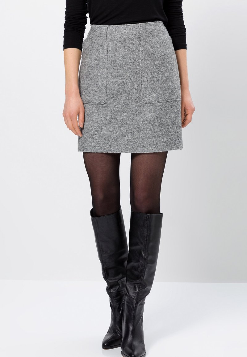 zero - MIT WOLLE - A-line skirt - silver grey-m
