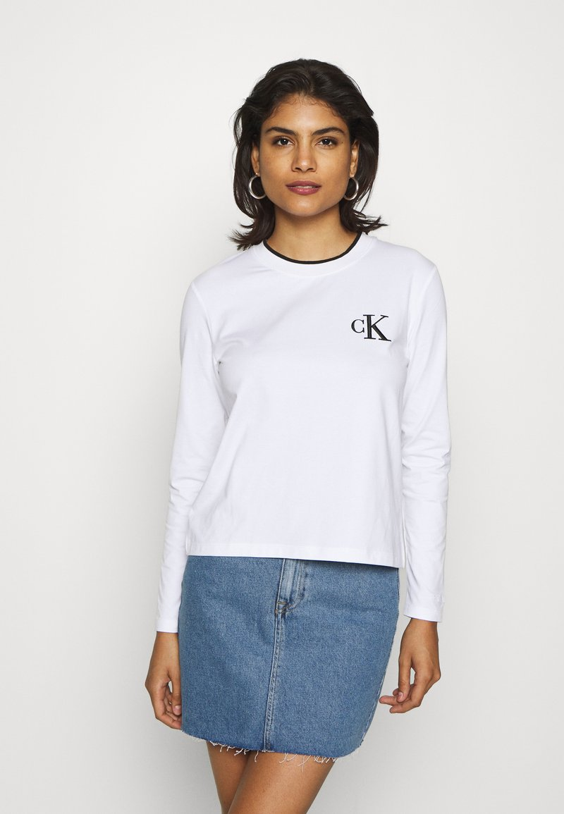 Calvin Klein Jeans - EMBROIDERY TIPPING - Langarmshirt - bright white