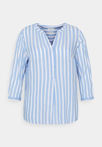 BLOUSE STRIPED - Long sleeved top - blue/white