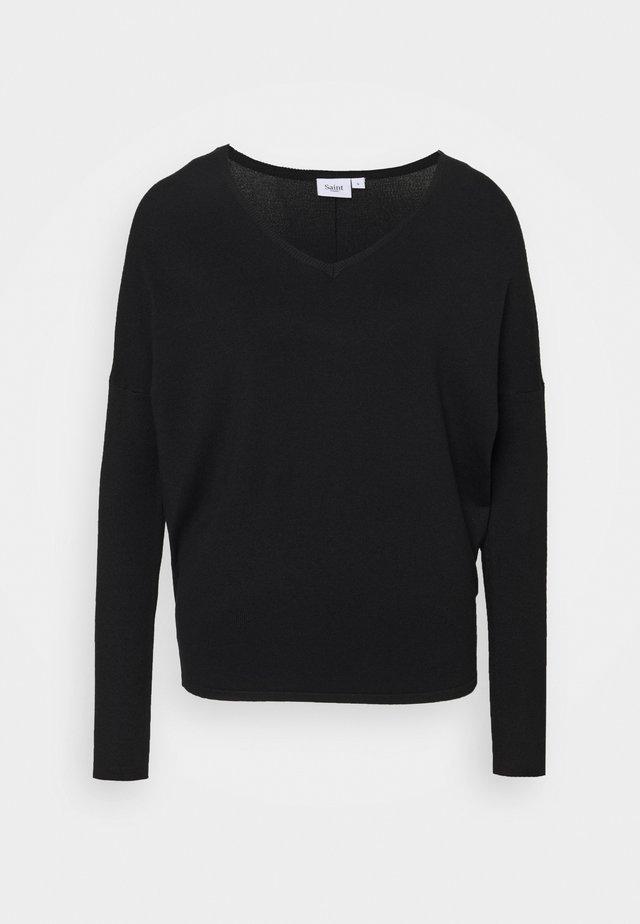 MILA V NECK - Pullover - black